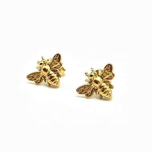 (Gold Bee Stud Earrings, 24k Gold Vermeil Bumblebee Jewelry, Honeybee )