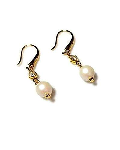White Pearlescent Swarovski Pearl Earrings with Clear Rhinestone Gold Framed Drop, Hypoallergenic or Nickel Free Ear Wires, Romantic Wedding Jewelry ()