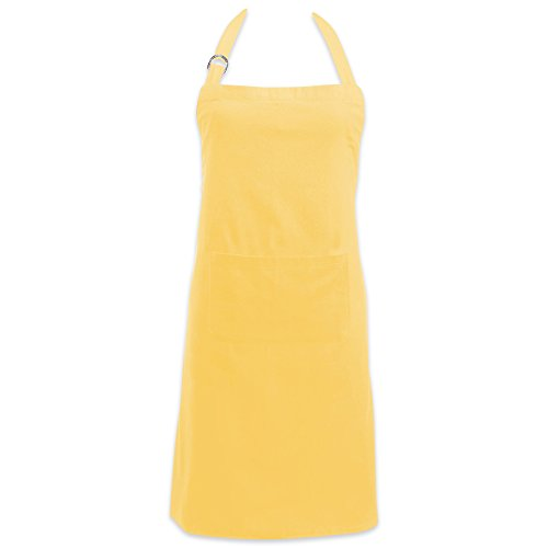 DII Cotton Adjustable Kitchen Chef Apron with Pocket and Extra Long Ties, 32 x 28, Commercial Men & Women Bib Apron for Cooking, Baking, Crafting, Gardening, BBQ-Yellow
