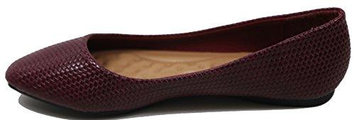 51c Womens Shoes Walstar Ballerina Ballet On Slip wine Flat 044pZvq