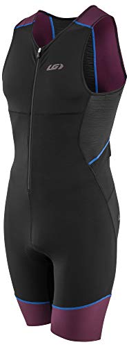Louis Garneau Men's Tri Comp Breathable, Padded, Sleeveless Triathlon Cycling Suit, Black/Purple/Blue, Medium ()