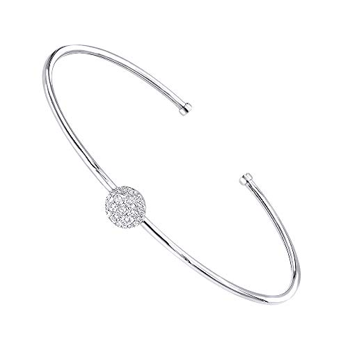 Stackable 14k Gold Pave Diamond Bangle Bracelet for Women 0.4ctw G-H color (White Gold) ()