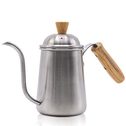 DWLXSH Gooseneck Coffee Maker Stainless Steel Wooden Handle Coffee Pot - Silver Making Drip kettle coffee tea pour