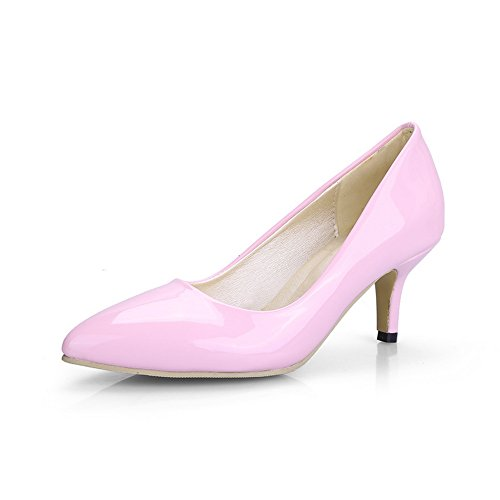 BalaMasa Womens Pointed-Toe Pull-On Slip-Resistant Patent-Leather Pumps-Shoes Pink wpwQRM
