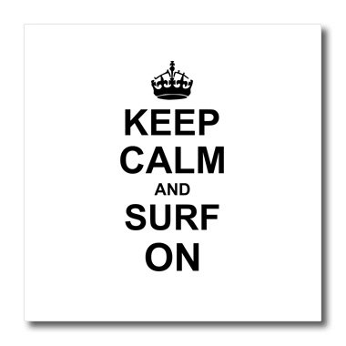 - 3dRose ht_157776_3 Keep Calm and Surf On-Carry on Surfing-Surfer Gifts-Iron on Heat Transfer Paper for White Material, 10 by 10-Inch
