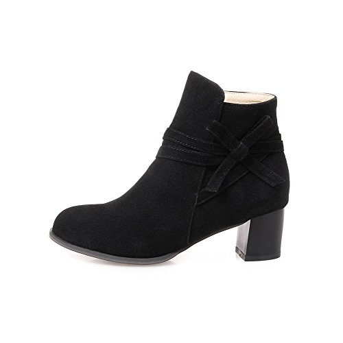 AgooLar Damen Flaum Futter Mittler Absatz Quadratisch Zehe Rein Reißverschluss Stiefel, Schwarz, 40