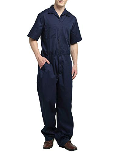 TOPTIE Men's Light Weight Short-Sleeve Work Coverall with Elastic Waist-Navy-L