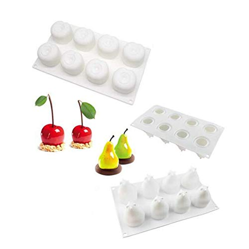 2 Pcs 3D Fruit Apple Pear Cherry Lemon Silicone Cake Molds, Baking Mousse Cake Decorative Mould, Dessert Muffin Chocolate Jelly Mould, DIY Silicone Bakeware Pan,Cake Pop Mold Baking Tray ()