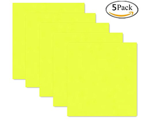 A4 Sheets HTV Iron on Vinyl for T-Shirts 5 Sheets (Fluorescent Yellow) ()