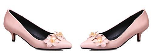 Aisun Bride Aiguille Cheville Rose Fleurs Belle Escarpins Moyen Femme Talon 11wqfrO