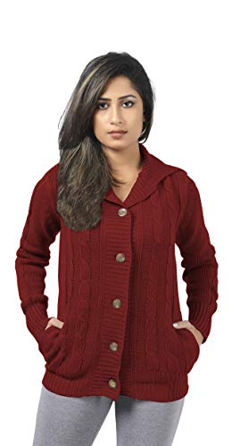 CutyFashion Women's 100% Acrylic Knit Open Front Button Fashionable Cardigan Sweater Coat.(S, Wine Red)