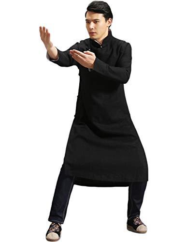 LZJN Men's Trench Coat Spring Autumn Long Jacket Kung Fu Linen Overcoat Vintage Chinese Style (MF-6 Black, M)