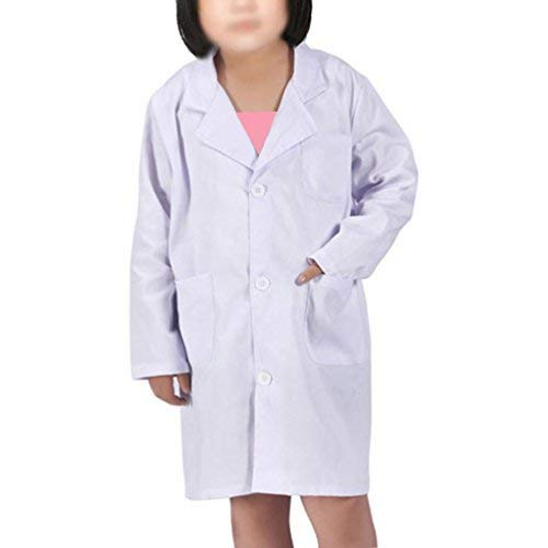 Kids Lab Coat for Kid Scientists Or Doctors Role Play Costume Dress-up Set (Medium, White) -