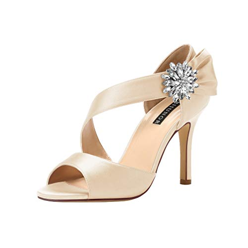 ERIJUNOR E0053 High Heel Party Sandals for Woman Open Toe Stiletto Bow Shoes Wedding Evening Dress Shoes for Dancing Champagne Size 10 ()