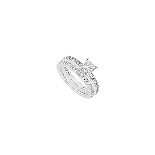 (14K White Gold Princess Cut Diamond Engagement Ring with Wedding Band Sets 1.00 CT TDW)
