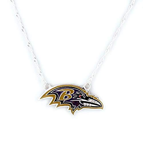 (Drop of Silver NFL Football Baltimore Ravens Crystal Logo Necklace in Purple Gold)