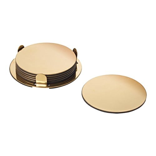 IKEA Glattis Coasters With Holder Brass Color 6 pack Size 3