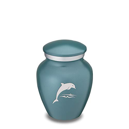 Dolphin Keepsake - GetUrns Keepsake Embrace Teal Dolphin Cremation Urn for Ashes