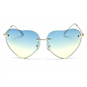 SummerDay Womens Retro Love Ocean Heart Shapes Sunglasses(C1)