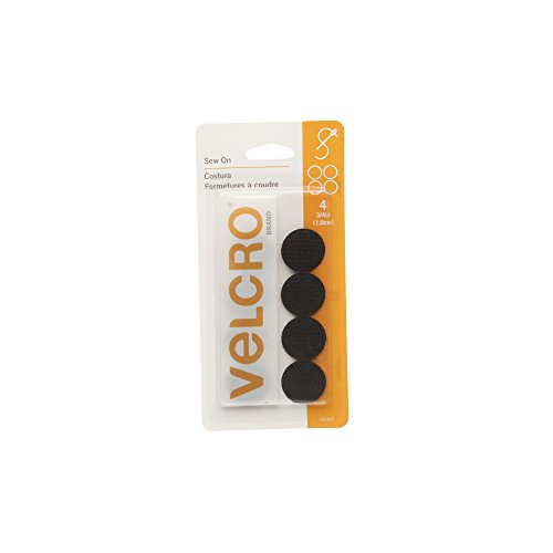 VELCRO Brand For Fabrics | Sew On Fabric Tape for Alterations and Hemming | No Ironing or Gluing | Ideal Substitute for Snaps and Buttons | Pre-Cut Coins, 4 Sets of 3/4 inch, Black