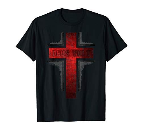 Deus Vult Knight Templar Vintage Holy Cross T-Shirt