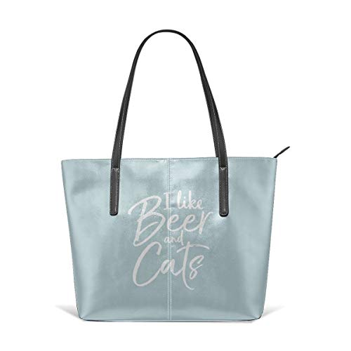 King Dare I Like Beer And Cats Women Fashion Handbags Tote Bag Shoulder Bag Top Handle Satchel - Microfiber PU Leather ()