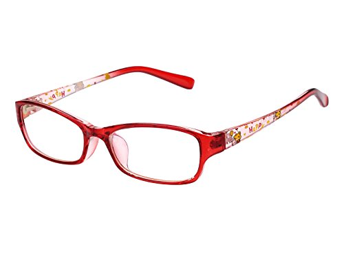 Agstum Kids Classic Rectangle Optical Frame Girls Boys Glasses Clear Lens (Red)