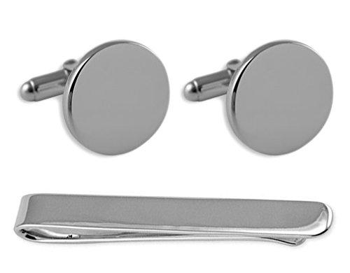 plain Sterling Sterling Box Tie Clip silver silver Set round Cufflinks n4tf5W