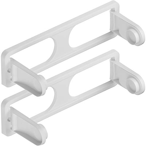 Plastic Paper Towel Holder - DecorRack Pack of 2 Wall Mount Paper Towel Holders for Kitchen and Bath, BPA Free- Plastic, Folding Under Cabinet Paper Towel Holder Dispenser, White (Pack of 2)
