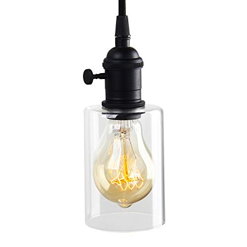 Permo 1 Light Vintage Style Hanging Mini Clear Glass Cylinder Shade Ceiling Rustic Pendent Light Fixture (Black) 1lt Pendant Light Fixture