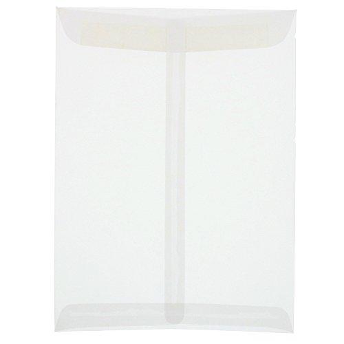 11 Open End Envelopes - JAM PAPER 9 x 12 Open End Catalog Translucent Vellum Envelopes - Clear - 25/Pack