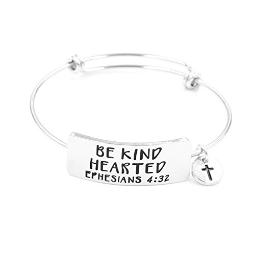 Yiyang Expandable Adjustable Rhadium Plated Alloy Engraved Bangle Bracelet Christian Quotes Be Kind Hearted (Silver) (Kind Silver Jewelry)