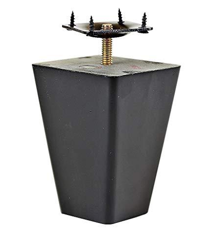 "ProFurnitureParts 4"" Inch Espresso Dark Finish Square Tapered Pyramid Wood Sofa Legs Set of 4 W/ Anti Slip Pads and Leg Plates"