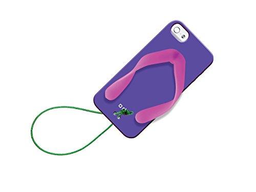 SBS Coque en TPU Tropical Tongs Housse étui avec collier pour iPhone 5S/5/5–Violet/Rose
