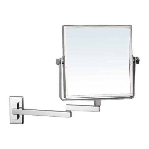 Nameeks AR7722-CR-3x Glimmer Square Wall Mounted Double Face 3x Magnification Makeup Mirror, Chrome