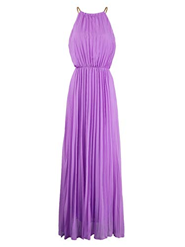 PERSUN Women's Casual Chiffon Cut Out Shoulder Pleated Party Maxi Dress (Small, Violet)]()