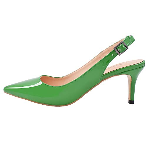 Lovirs Womens Green Slingback Ankle Strap Sandals Stiletto Mid-Heel Pointy Toe Pumps Shoes for Party Dress 8.5 M US