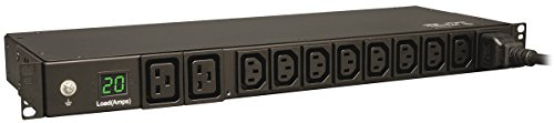 Tripp Lite Metered PDU, 20A, 10 Outlets (8 C13 & 2 C19), 200-240V, C20 / L6-20P Adapter, 12 ft. Cord, 1U Rack-Mount Power, TAA (PDUMH20HV)