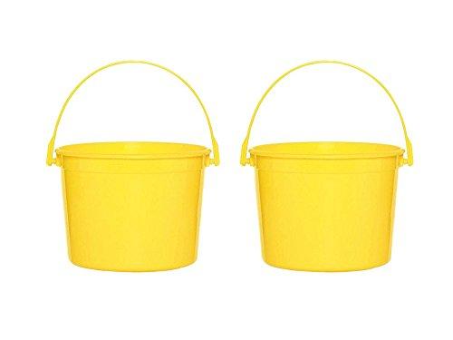 Amscan Set of 2 Yellow Sunshine Plastic Giveaway Bucket Bundled by Maven Gifts