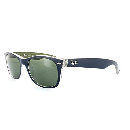 Ray-Ban RB2132 New Wayfarer Sunglasses, Military Blue & Green/Green, 52 ()