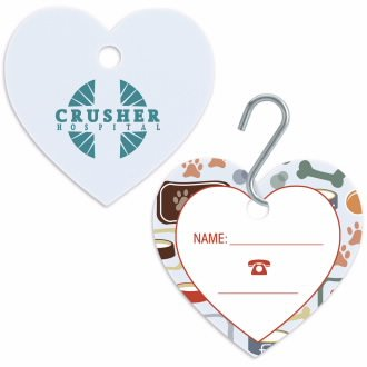 Large Pet ID Tag - Heart by Hand