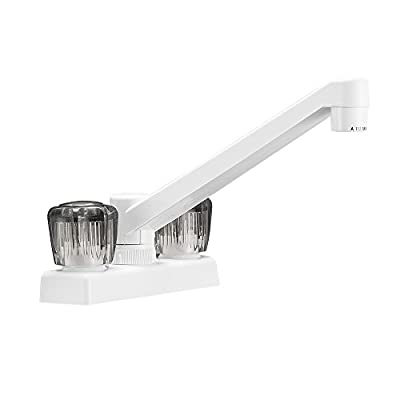 Dura Faucet DF-PK640S-WT RV Kitchen, Galley, or Bar Faucet with Smoked Acrylic Knobs (White): Automotive