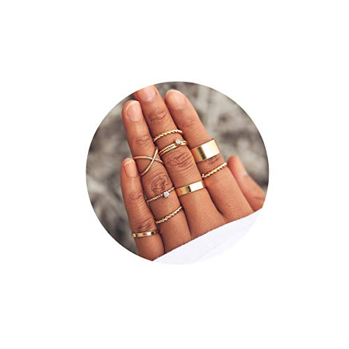 - FINETOO 9 PCS Midi Ring Set Simple Stainless Steel Knuckle Crystal for Women/Girl Gold Finger Stackable Rings Set Jewelry Friendship