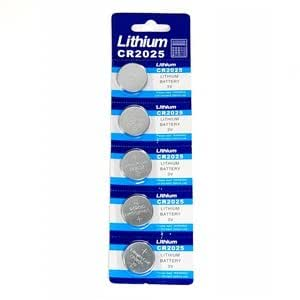Bluecell 5 Pcs CR2025 Lithium Button Cell Battery 3V for Watch Toy Calculator
