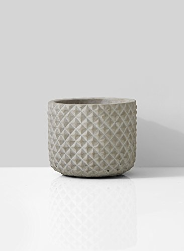 Serene Spaces Living Decorative Grey Cement Diamond Patterned Cylindrical Vase, Ideal for Wedding, Event Centerpieces, Set of 2 (Vase Patterned)