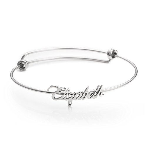 (Custom Name Bracelet for Teen Girls Personalized Stainless Steel Bracelets Jewelry for Women Name Elizabeth )