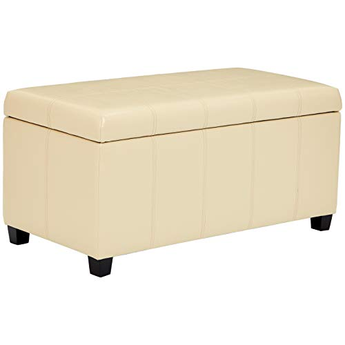 First Hill Damara Lift-Top Storage Ottoman Bench with Faux-Leather Upholstery, Vanilla