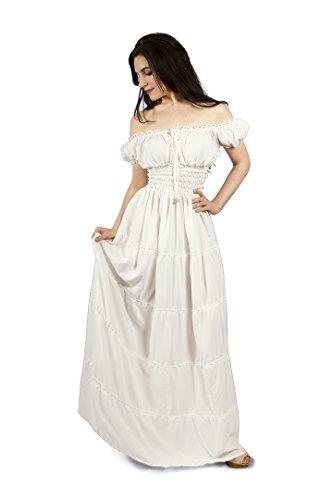 Renaissance Peasant Faire Gown Boho Hippie Sun Dress (L/XL, White) (Renaissance Dress Plus Size)