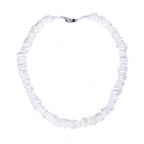BlueRica Hawaiian Puka Clam Chip Shells Beaded Choker Necklace (14 Inches)