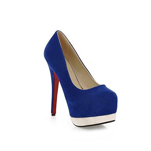 Balamasa Damesschoen Met Platformhoge Hakken Laag Uitgesneden Bovendeel Frosted Pumps-schoenen Blauw
